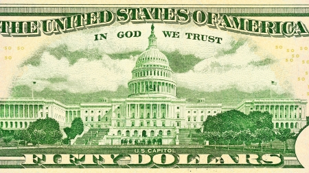 50 dollar bill: Fifty dollar close-up  Capitol Building as depicted on the backside of the bill