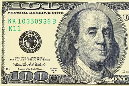 100 달러 벤자민 프랭클린의 매크로 샷은 법안에 묘사