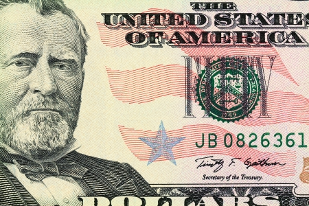 Macro shot of a 50 dollar  Portrait of Ulysses S  Grant as depicted on the bill photo