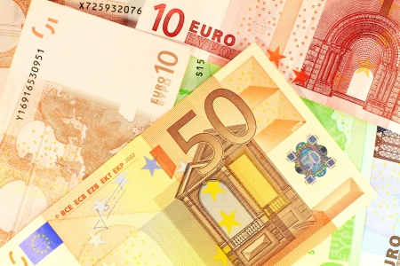 European currency money  Macro details of 50 Euro note over others as background Stock Photo