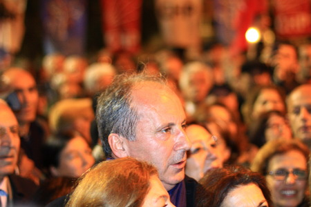 ISTANBUL - MARCH 16, 2014  CHP deputy parliamentary group chair Muharrem Ince in crowds at Maltepe meeting