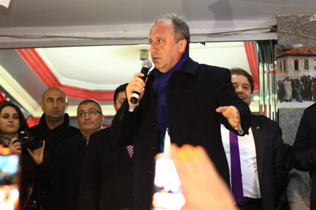 ISTANBUL - MARCH 16, 2014  CHP deputy group chair Muharrem Ince slams the government over corruption during election rally at Maltepe Turkey Editöryel