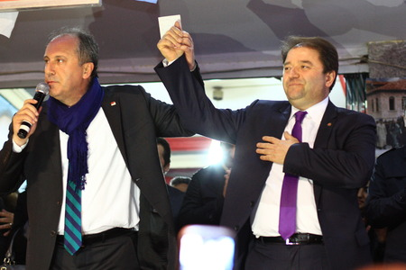 ISTANBUL - MARCH 16, 2014  CHP deputy parliamentary group chair Muharrem Ince declared Ali KILIC as their candidate for Maltepe region
