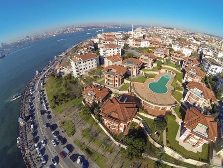 Birds eye view of luxury houses and a swimming pool at Uskudar, Istanbul. Looking down on a residential housing community. photo