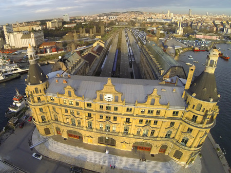 Haydarpasa station building from above, Istanbul, Turkey.