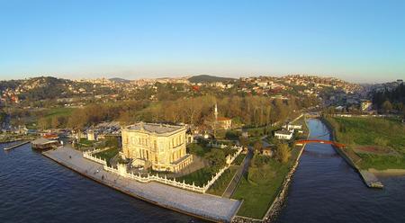 Kucuksu Pavilion and Kucuksu River in Istanbul, Turkey. High angle panoramic view of the pavilion built by Sultan Abdulmecit, 19th century. photo