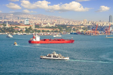 marine industry: LPG tanker ship sailing in front of Istanbul Commercial Harbour  Some 50,000 ships pass through the Turkish Straits every year  LPG ship designed for liquefied petroleum gas transportation Editorial