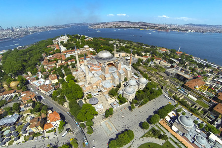 flyover: Ayasofya at Old City of Istanbul  Aerial Turkey Views  Hagia Sophia, forth largest building in the world that was made as a church