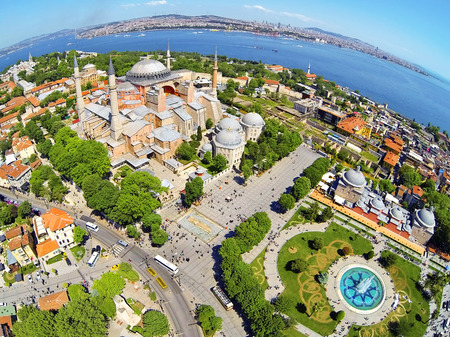 Visitors enjoying in front of Hagia Sophia Museum in Istanbul, Turkey  Basilica is a world wonder of Istanbul since it was built in 537 AD