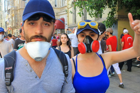 unrest: ISTANBUL - JUN 1  Plans to build on Gezipark led to anti government unrest on June 1, 2013 in Istanbul, Turkey  Tension suddenly amplified on fourth days of peaceful sit when police charged protestors
