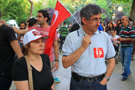 ISTANBUL - JUN 1  Plans to build on Gezipark led to anti government unrest on June 1, 2013 in Istanbul, Turkey  Tension suddenly amplified on fourth days of peaceful sit when police charged protestors