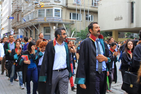 ISTANBUL - JUN 12  Turkish lawyers march in support of anti-government protests at Istiklal Street on June 12, 2013 in Istanbul  They were detained yesterday by police while protesting in courthouse