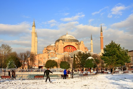 ISTANBUL - JAN 9, 2013: Hagia Sophia in Winter. St Sophia was the largest cathedral of the world for 1000 years as of its construction.