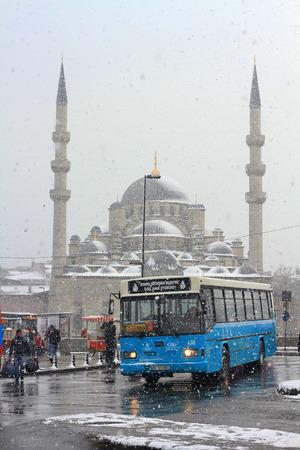 ISTANBUL - JAN 30, 2012: City IETT bus about to leave at Eminonu Hub. IETT is Istanbul