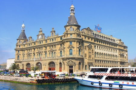 kadikoy: ISTANBUL - JUN 13, 2013: Haydarpasa Central Train Station. Today, railway station closed to allow for the construction of a high-speed rail line between Istanbul and Ankara. It still closed