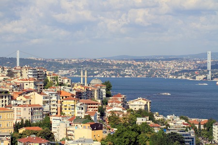 Aerial view to Istanbul in the distance are such landmarks as  Nusretiye Mosque, Tophane Region, Bosphorus Bridge and part of straits