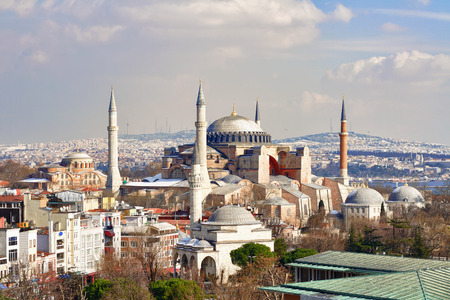 Hagia Sophia in Winter. St Sophia was the largest cathedral of the world for 1000 years as of its construction. Редакционное