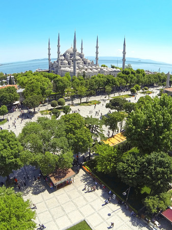 Blue Mosque and Sultanahmet Square from above. Aerial, Istanbul Фото со стока