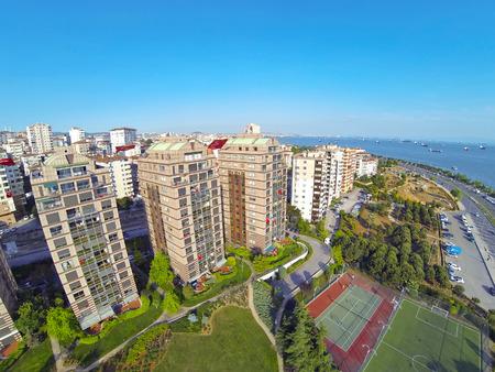 Luxury condominium apartments. Aerial view of outdoor play area