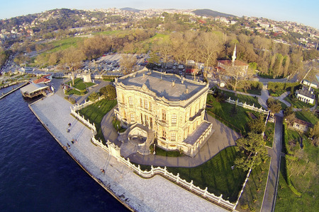 eye traveller: KUCUKSU KASRI in Istanbul. Aerial. High angle view of the pavilion built by Sultan Abdulmecit in Istanbul, 19th century. Editorial