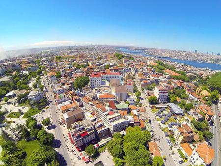 Divanyolu and Yerebatan Streets. Goldenhorn in the distance. Aerial Istanbul Редакционное