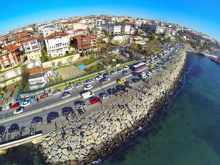 High angle view of Istanbul towards Harem coastline. Showing many cars and coastal street along Bosphorus Sea.