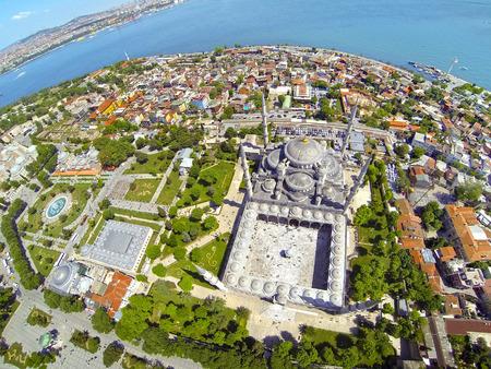 Istanbul Aerial. Sultanahmet Square and Blue Mosque