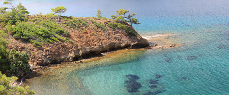 Crystal clear, turquoise waters of Mediterranean Sea in Turkey Country. Panoramic wide shot simple calm blue green sea coast