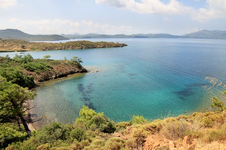 Marrmaris sea coast from top of a hill. Crystal clear, turquoise waters of Mediterranean Sea in Turkey Country