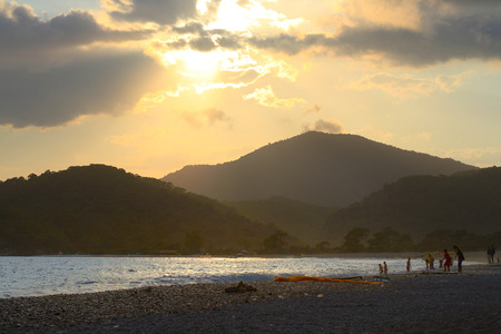 fethiye: Fethiye, Oludeniz Beach on sunset in Turkey