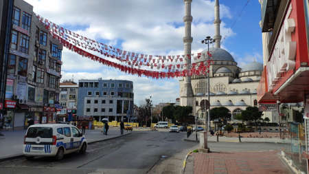 ISTANBUL - MAR 11, 2020: Empty streets on day 1 of the lockdown due to the Corona Virus pandemic at Maltepe Region. New type of coronavirus originated in China continues to spread in Turkey