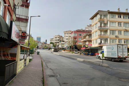 ISTANBUL - APR 19, 2020: Empty streets on total lockdown for all due to the Corona Virus pandemic at Maltepe Region. New type of coronavirus originated in China continues to spread in Turkey