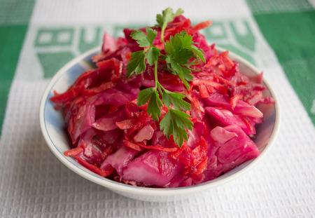 beets: Fresh salad of cabbage and beets
