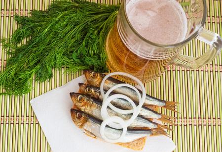 sardine can: Smoked small fish (kilka, sprat, herring) and beer