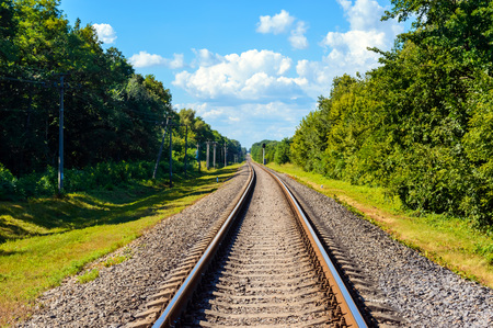 The railway goes to horizon, on both sides of the green dense forest. Stock Photo