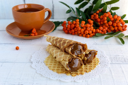 condensed: Homemade honey wafers rolled into a cone, filled with caramel (condensed milk), rowan berries on a white background. Close up Stock Photo