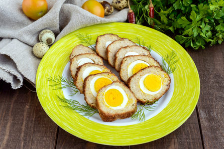 meatloaf: Meatloaf stuffed with boiled eggs, sliced. Close-up. Stock Photo