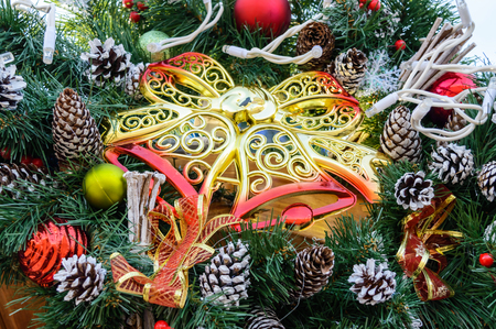 large golden tracery plastic bells fir branches cones festive decorations for the new - Large Plastic Christmas Decorations