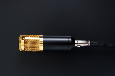 Beautiful golden microphone on a black background. The top view, flat lay.