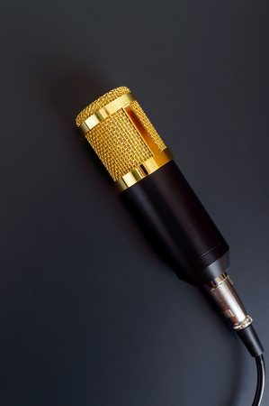 Beautiful golden microphone on a black background. The top view, flat lay. Banque d'images - 121399178