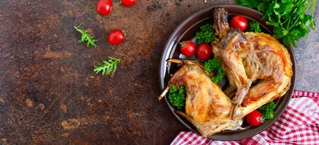 Whole baked rabbit with greens and tomatoes on a plate. Tasty dietary meat. Top view, flat lay. Banner