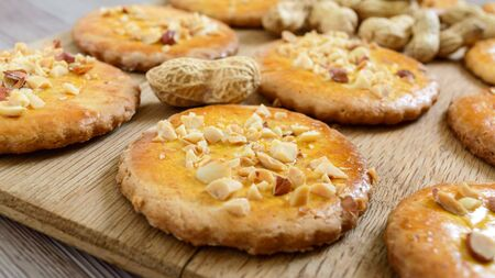 Shortbread dairy cookies with chopped nuts, milk and honey.