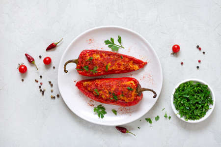 Tasty peppers stuffed with chicken, lentils and tomatoes. Simple and useful dish. The top view