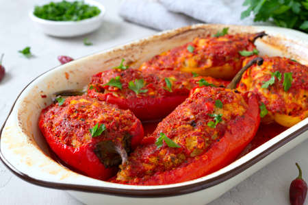 Diet peppers stuffed with chicken and tomatoes. Simple and tasty dish.