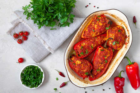 Diet peppers stuffed with chicken and tomatoes. Simple and tasty dish. The top view