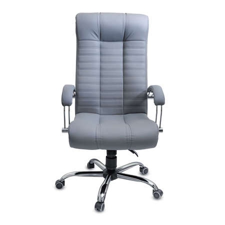 Large empty office chair from gray leather, isolated on white background. Stock Photo