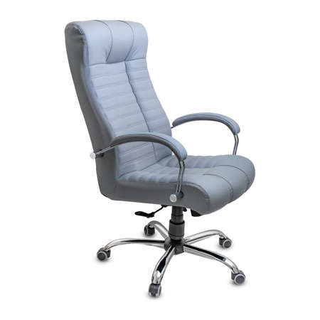 Large empty office chair from gray leather, isolated on white background. Side view.