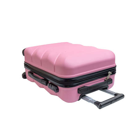Chic pink suitcase. Bag for travelers, isolated on white background.