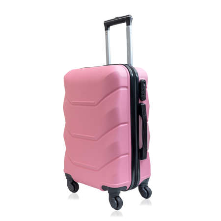 Pink travel suitcase on wheels, isolated on white background. Trendy children's suitcase.
