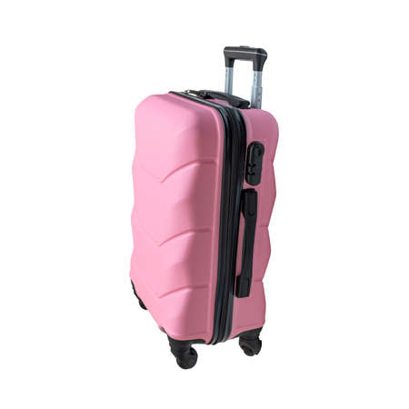 Pink suitcase, isolated on white background. Smart travel bag on wheels.